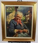 Vintage Italian Oil on canvas elderly woman