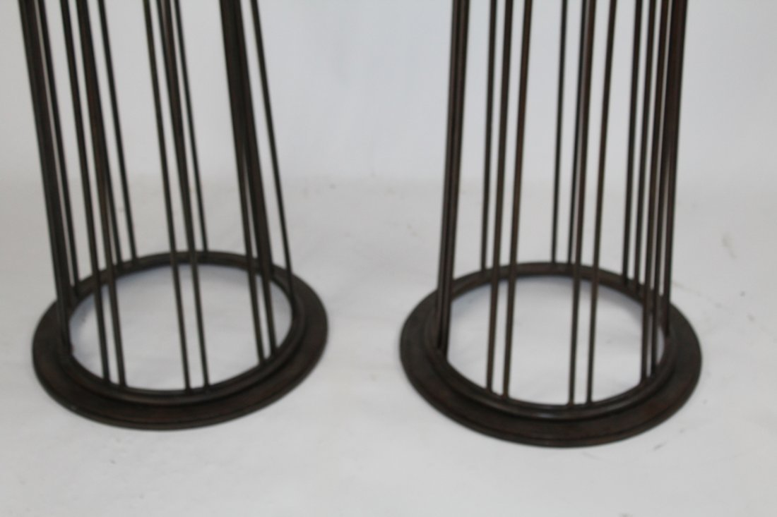 Pair of classical scrolled pedestals with faux marble - 3