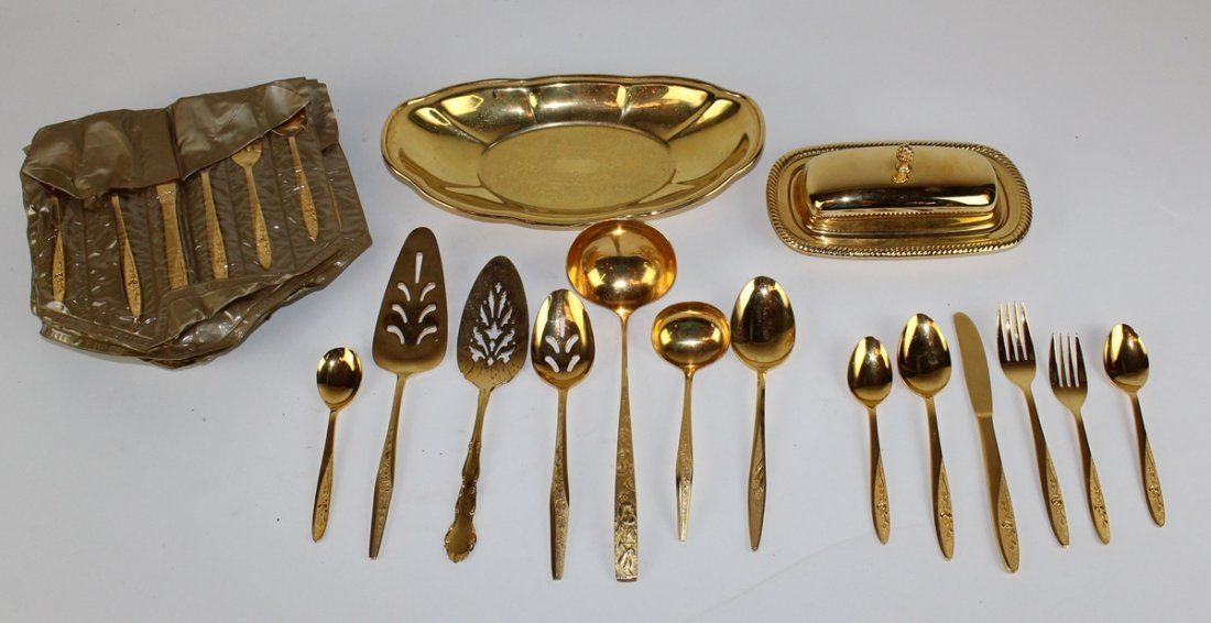 Gold plated flatware service for 16