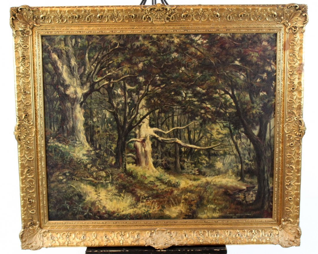 Antique oil on canvas landscape with trees