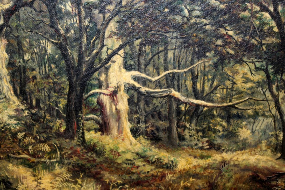 Antique oil on canvas landscape with trees - 2