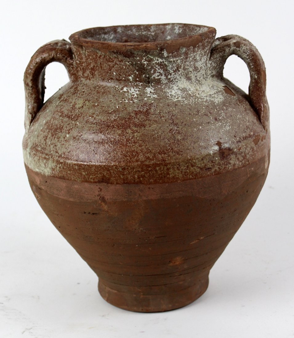 French slip glazed terra cotta pot