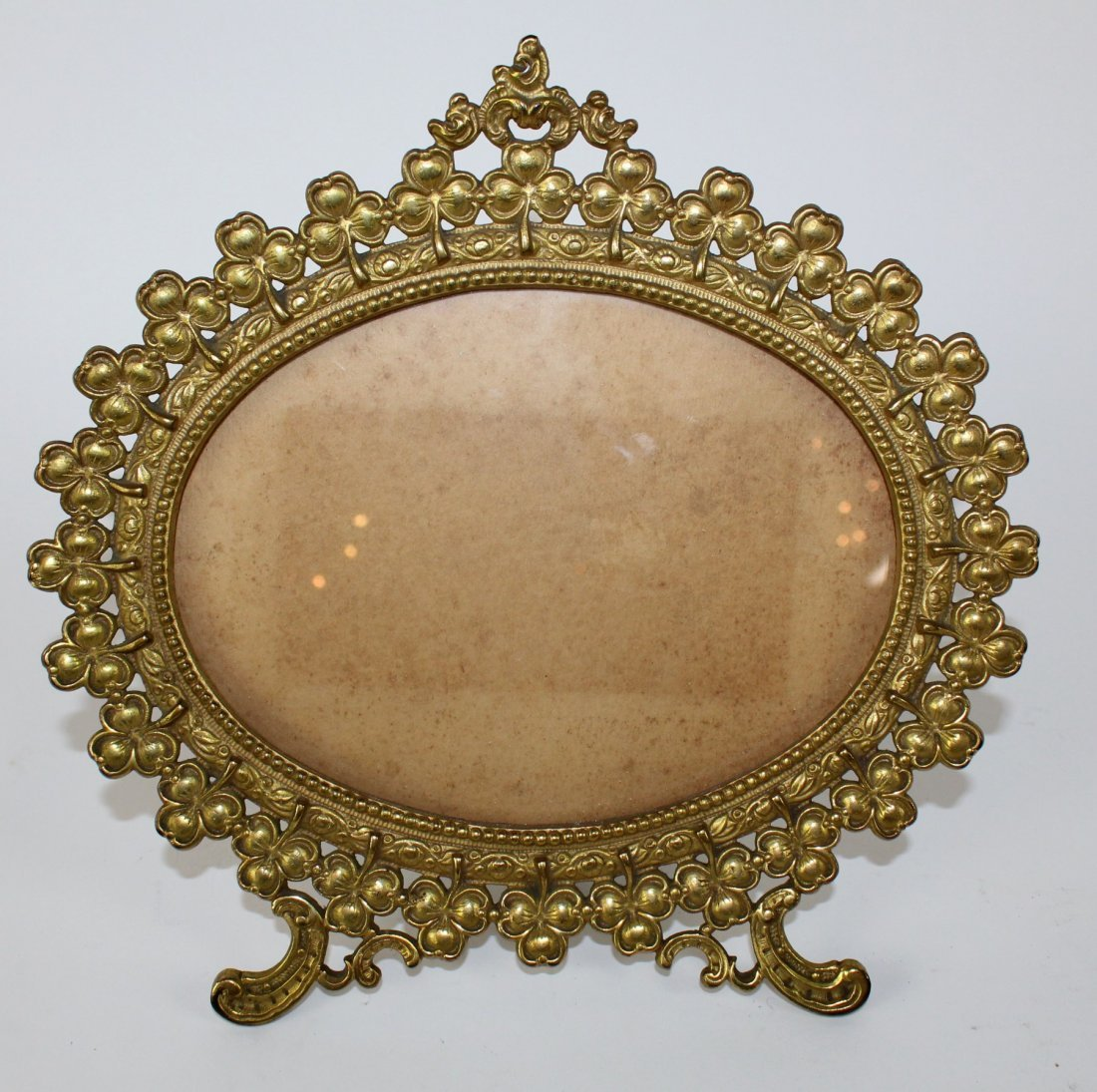 Victorian brass clover decorated picture frame