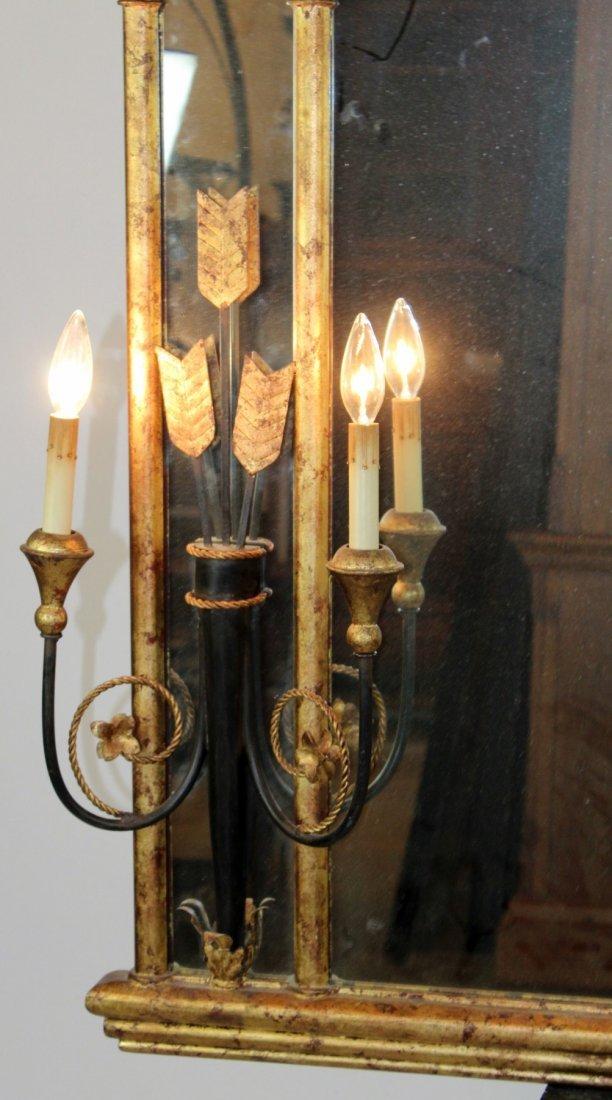 Decorative gilt framed mirror with sconces - 2
