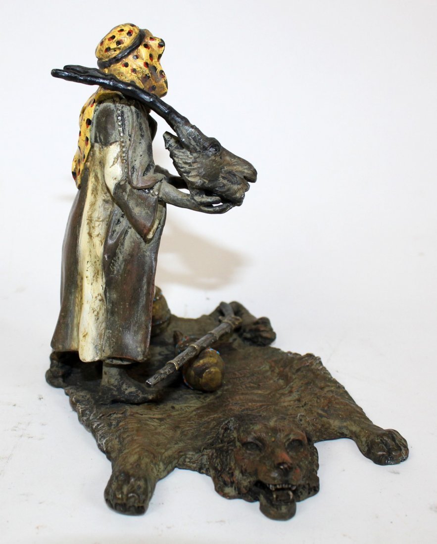 Cold painted bronze Hunter  on carpet - 4