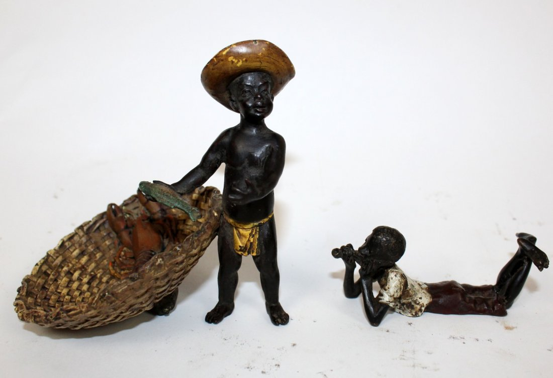 Lot of 2 cold painted bronze young boy figurines