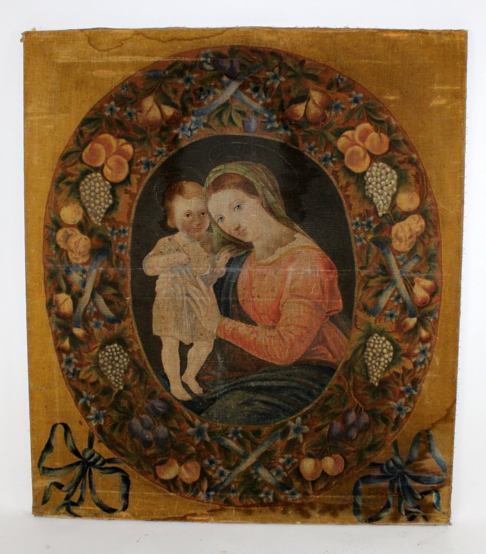 Antique Oil on linen painting Madonna & Child