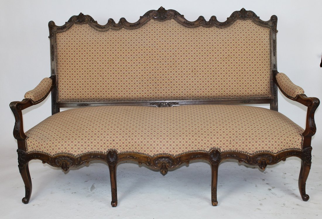 French Regency style walnut sofa