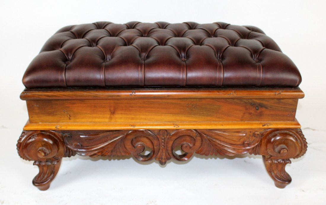 Rococo style ottoman with tufted leather