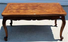 French Louis XV parquet top draw leaf table