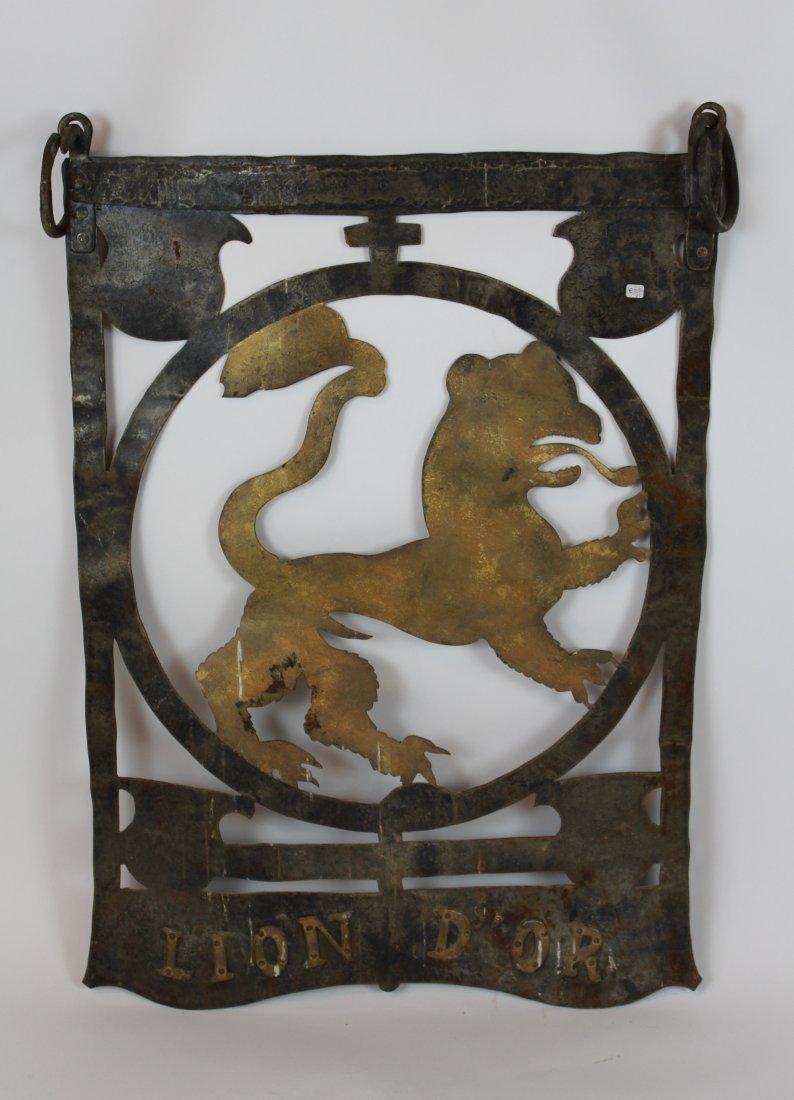 French hand forged iron pub sign Lion d'Or
