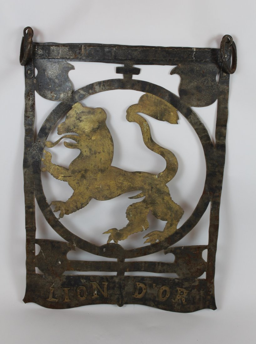 French hand forged iron pub sign Lion d'Or - 6