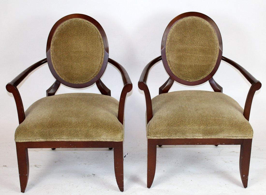 Pair of balloon back mahogany armchairs
