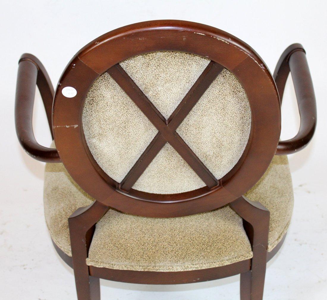 Pair of balloon back mahogany armchairs - 4