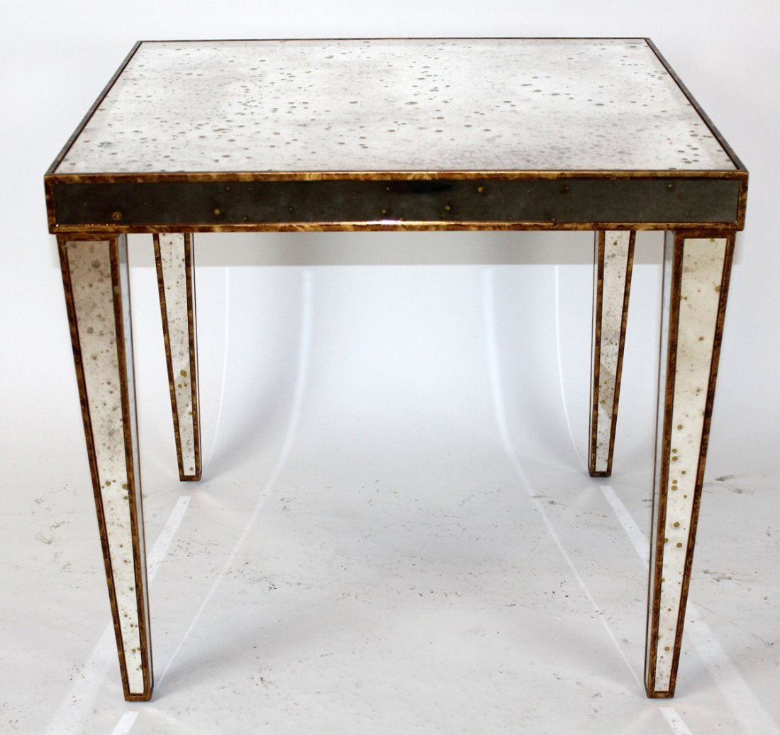 Square mirrored accent table with gilt detail - 3
