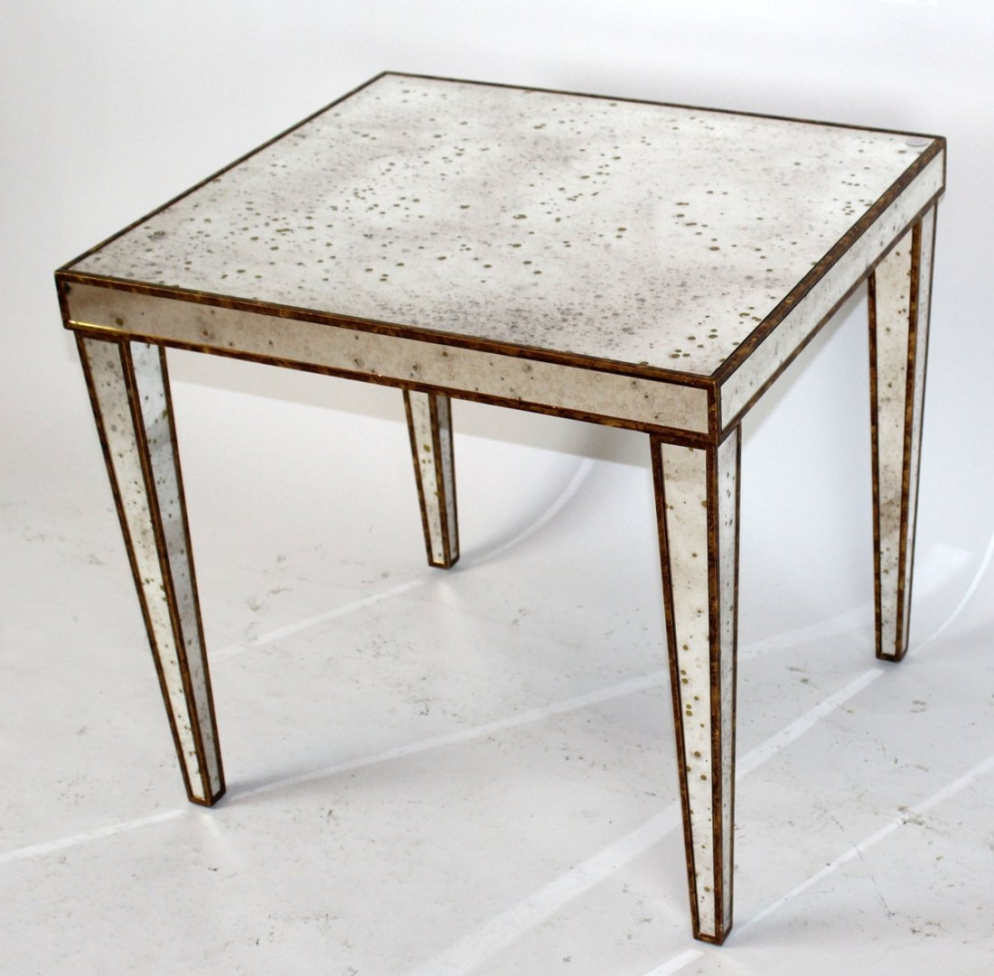 Square mirrored accent table with gilt detail - 4