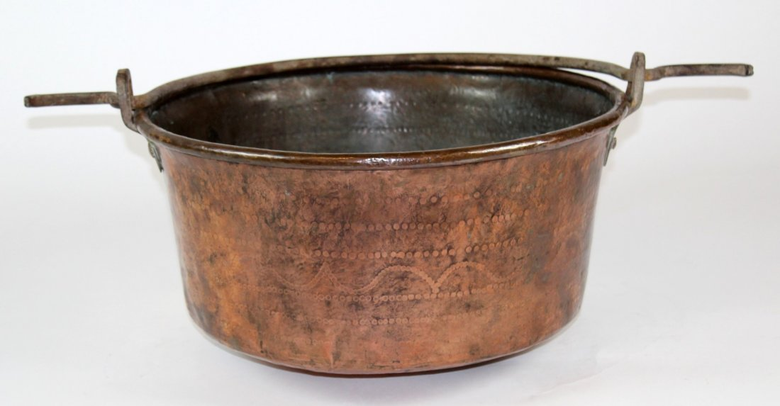 Large antique French copper cauldron
