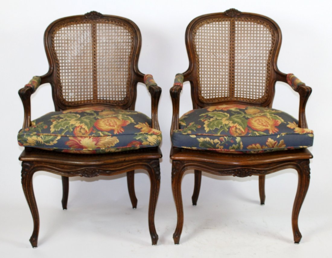 Pair of Louis XV armchairs walnut with cane
