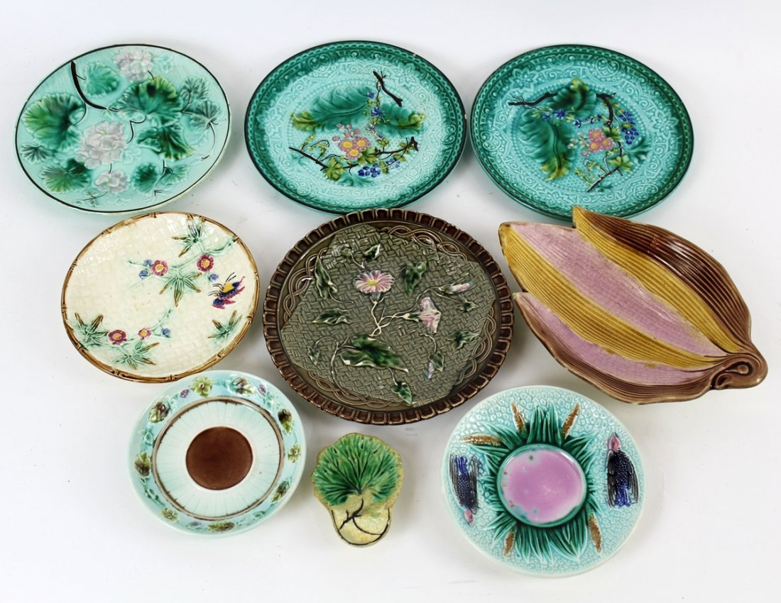 Grouping of 9 vintage Majolica pieces