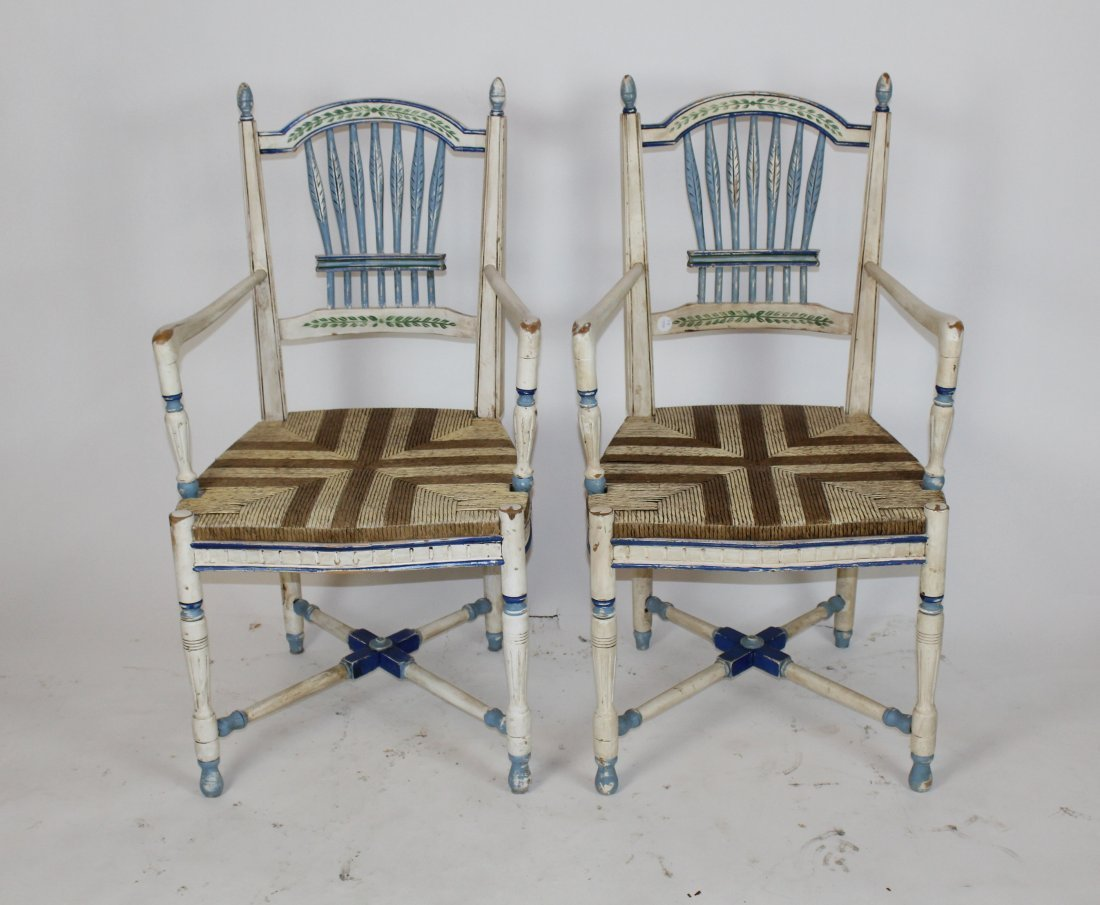 Pair of wheatback painted armchairs