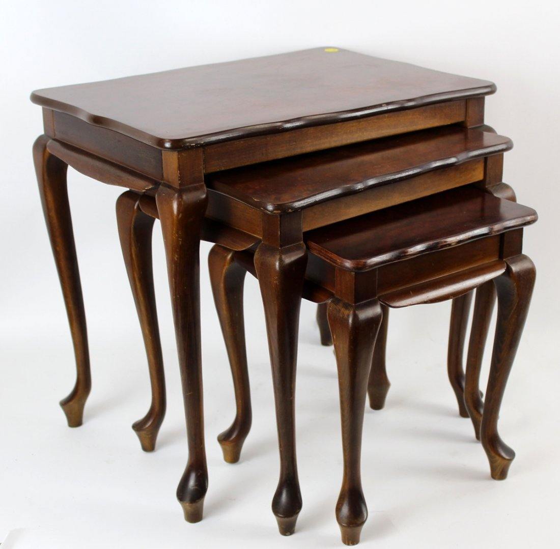 Queen Anne style nest of 3  tables