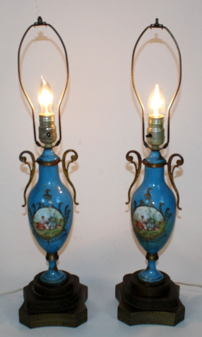 Pair of French Old Paris porcelain lamps