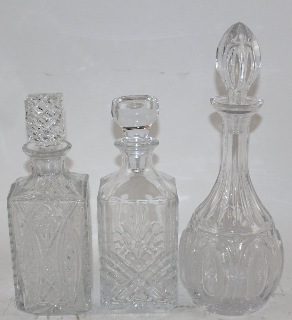 Lot of 3 crystal decanters