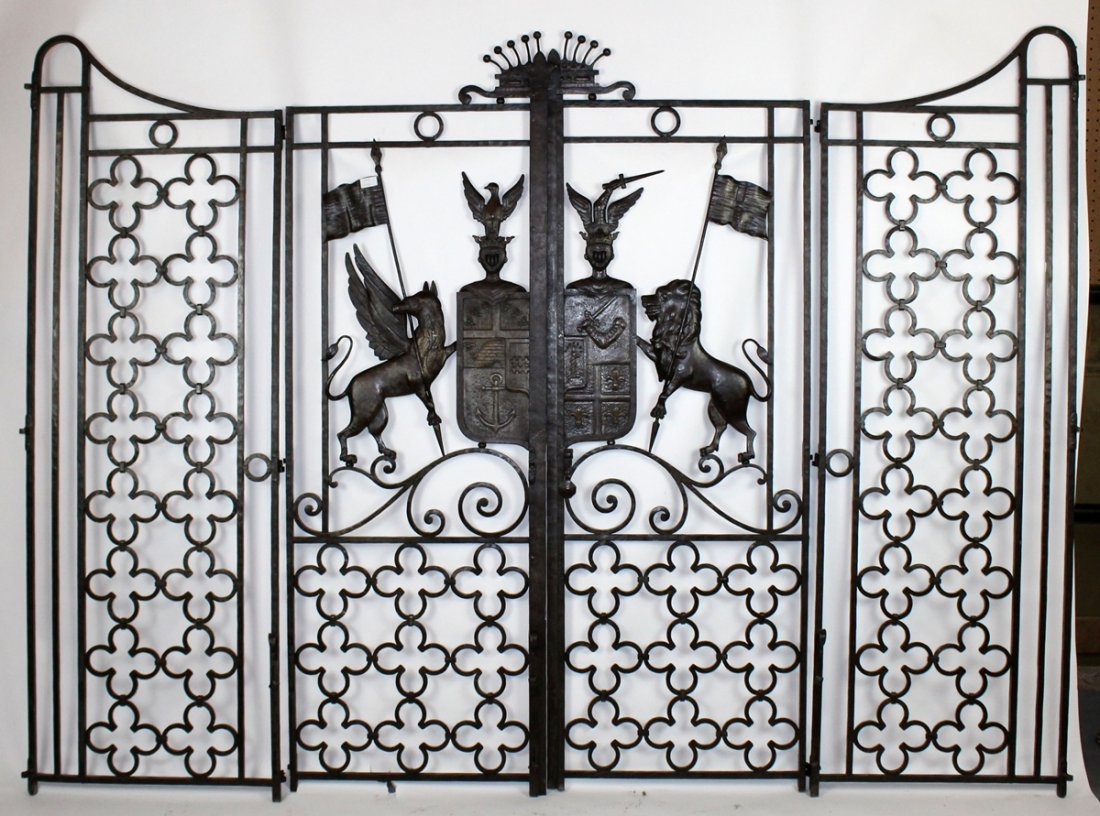 French forged iron entry gates with coat of arms