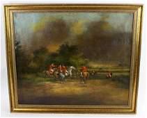 English hunt scene oil on canvas