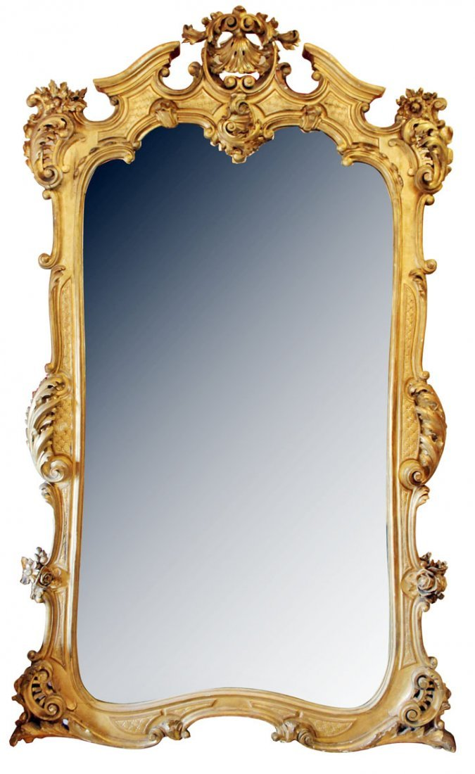 Monumental antique French gold leaf mirror