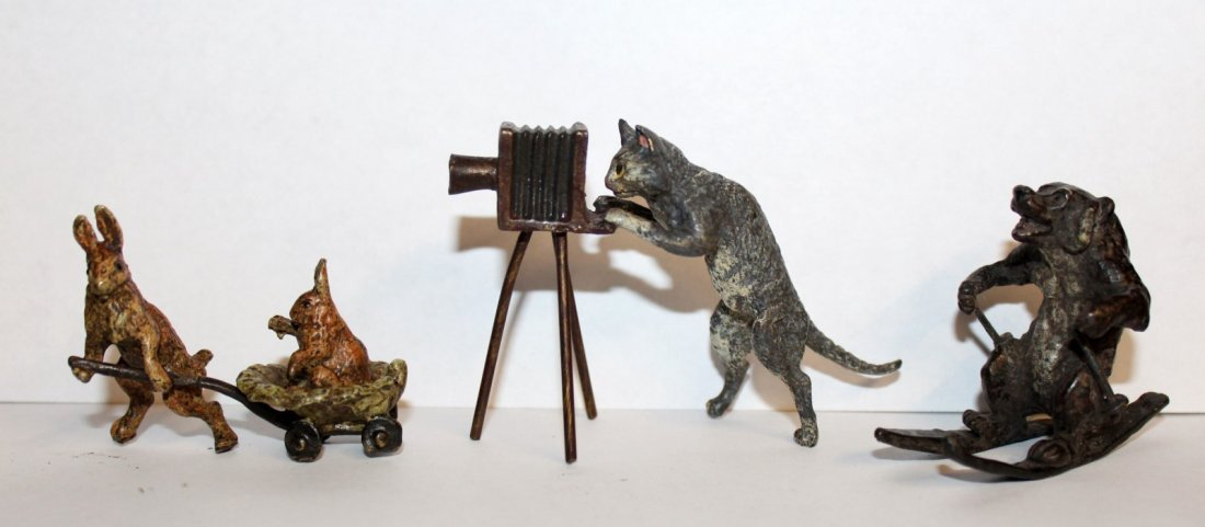 3 cold painted bronze figurines
