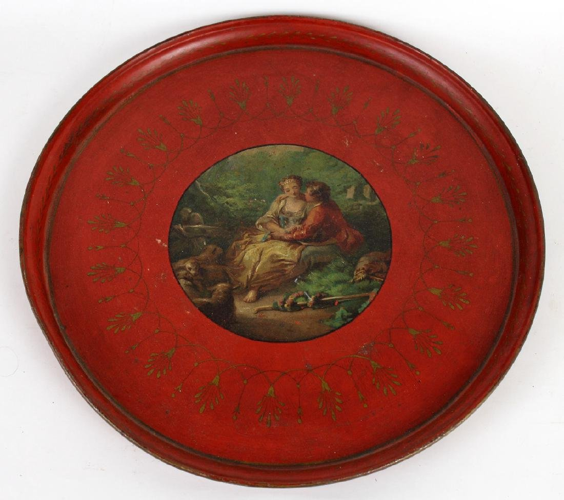 French tole tray with painted classical lovers scene
