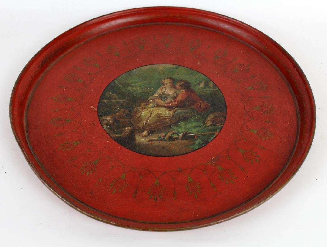 French tole tray with painted classical lovers scene - 2