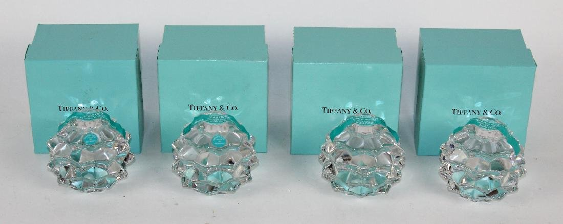 Lot of 4 Tiffany & Co crystal candle holders