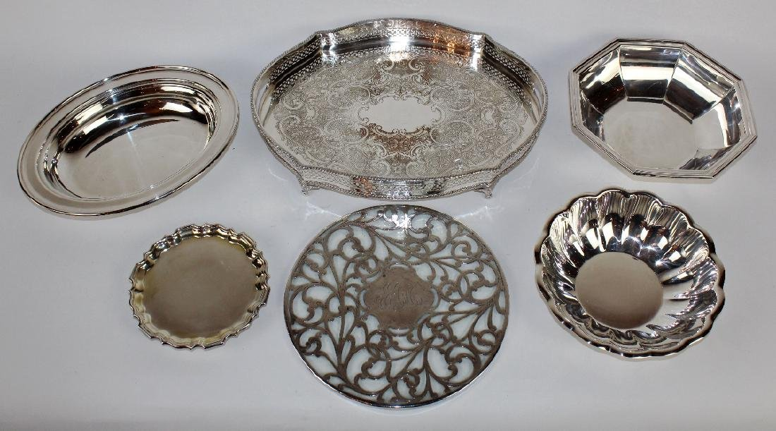 Grouping of silverplate serving pieces