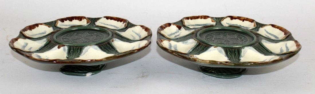 Lot of 2 French Longchamp footed oyster plates - 2