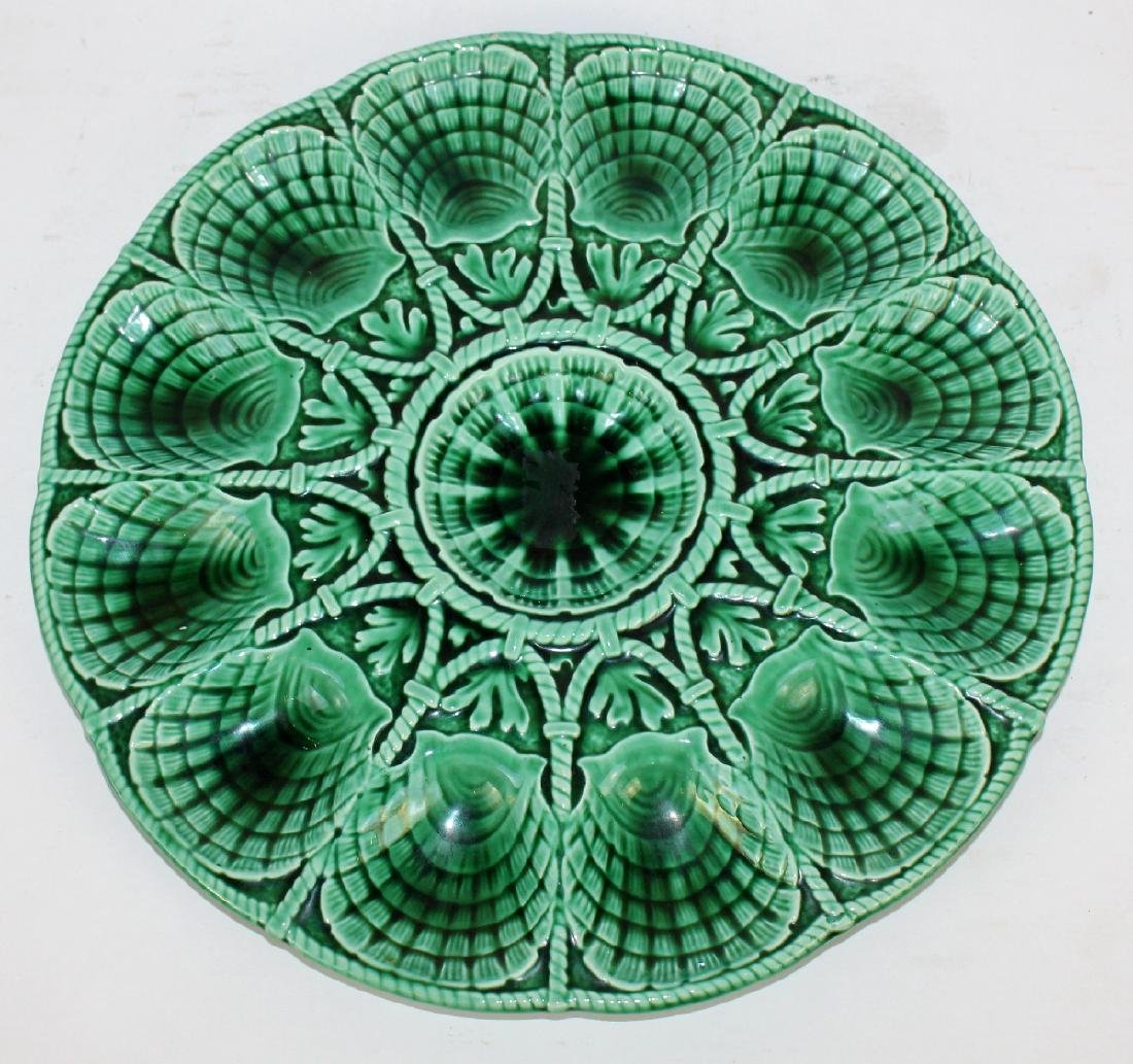 French Sarreguemines ceramic oyster platter