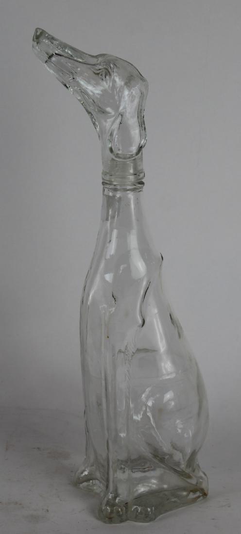 French glass wine bottle dog form.