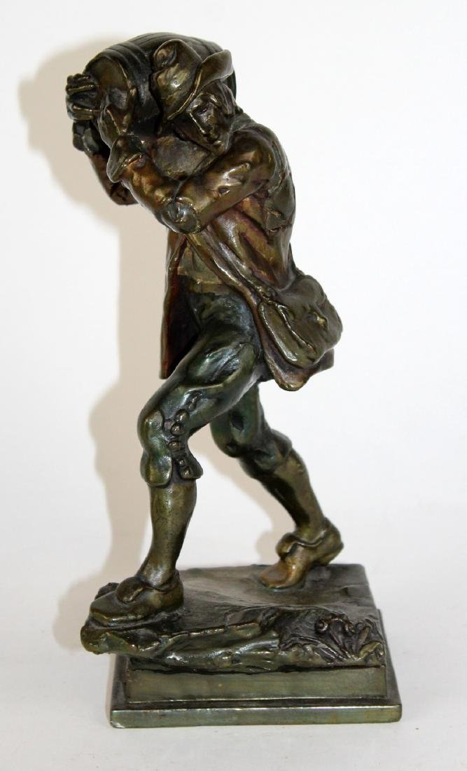 Bronze clad statue of Prohibition man with keg - 2