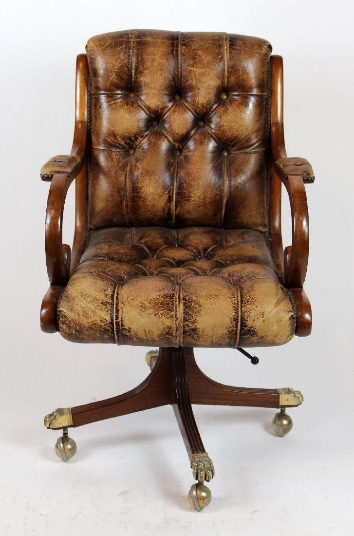 Tufted leather desk swivel chair