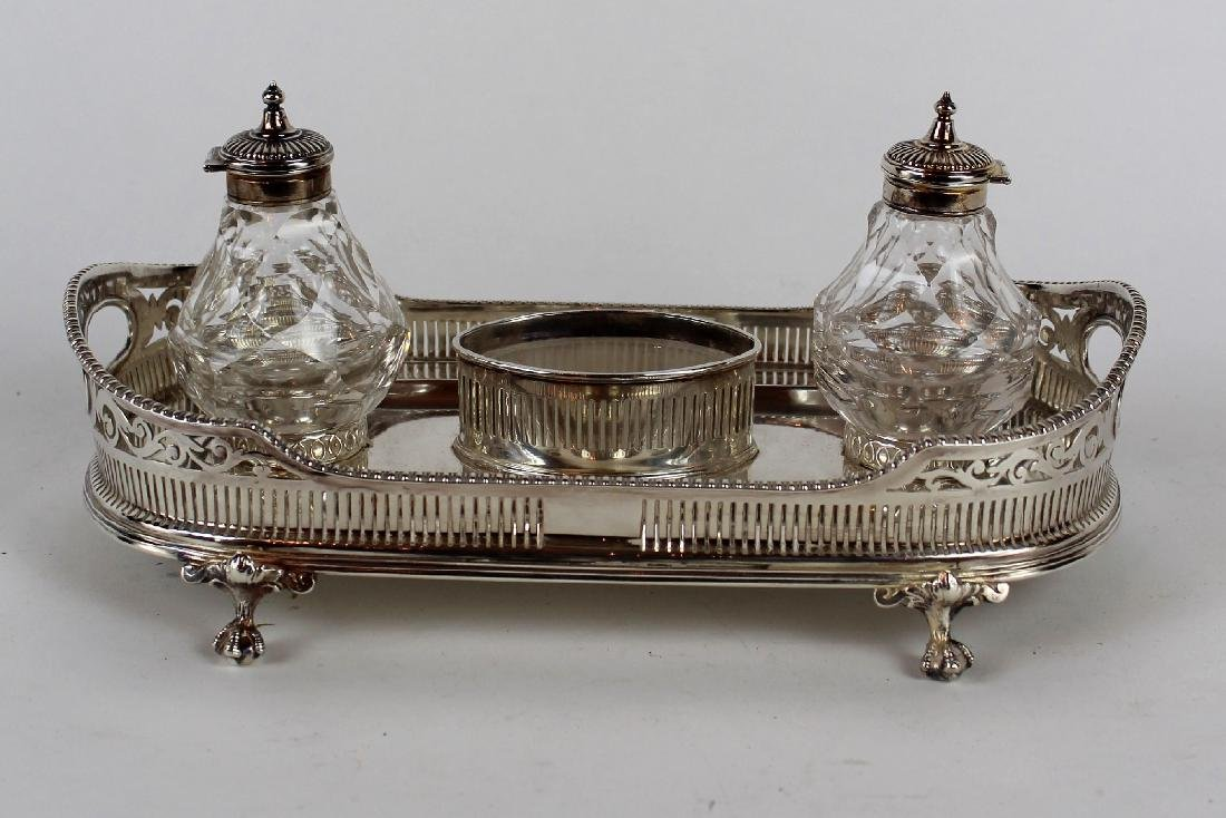 Silverplate desk caddy with double inkwells
