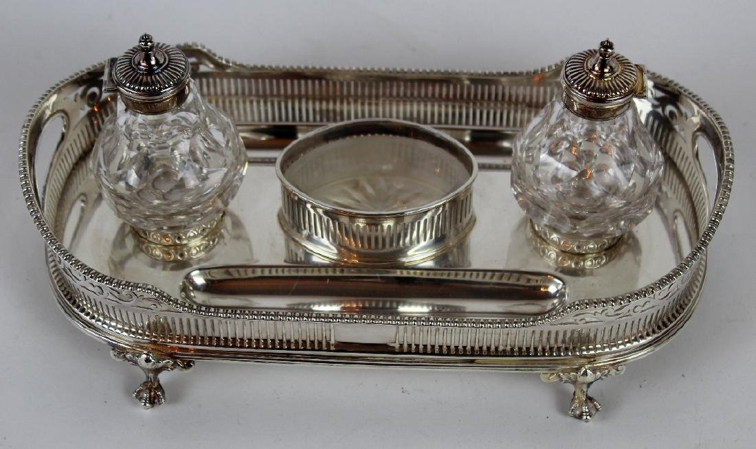 Silverplate desk caddy with double inkwells - 2