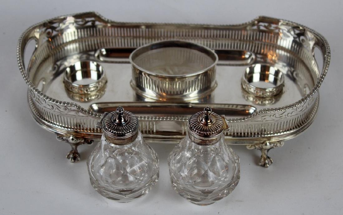 Silverplate desk caddy with double inkwells - 3