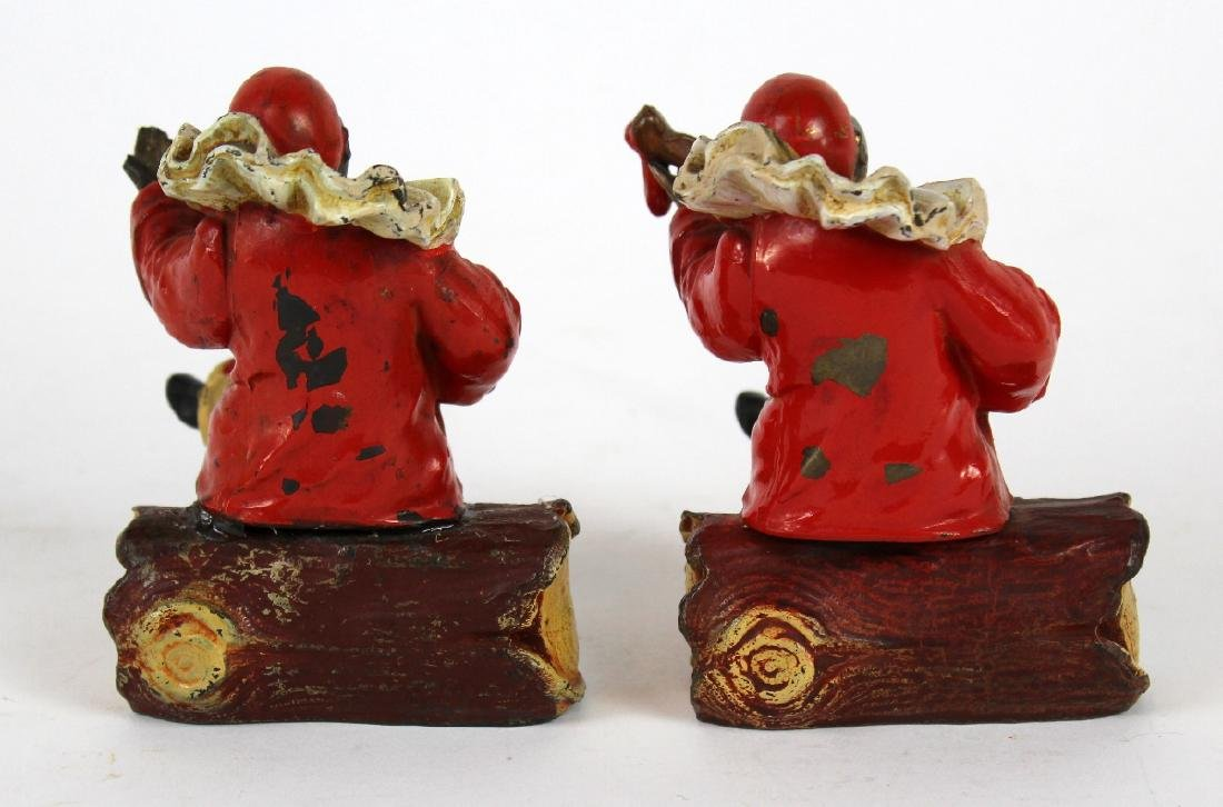 Pair cold painted bronze Harlequin bookends - 3