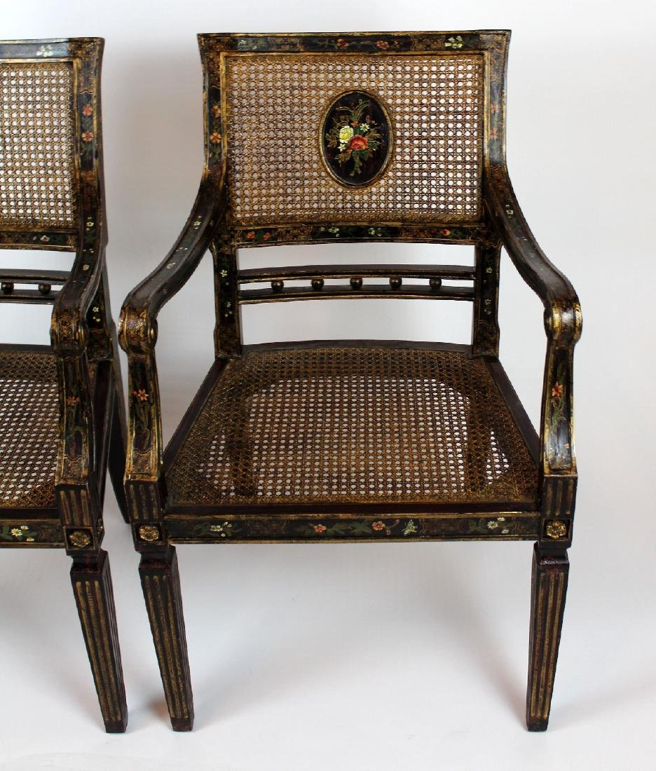 Pair of painted caned armchairs - 2
