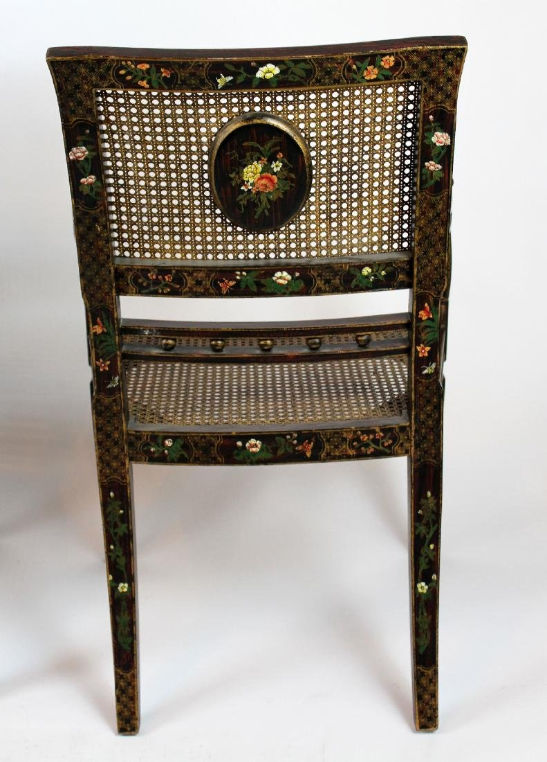 Pair of painted caned armchairs - 3