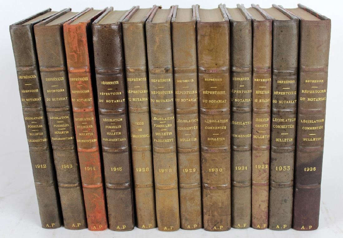 Lot of 12 French leather bound books