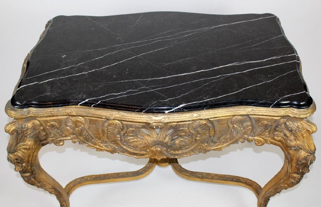 Louis XV style gilt console with marble top - 2