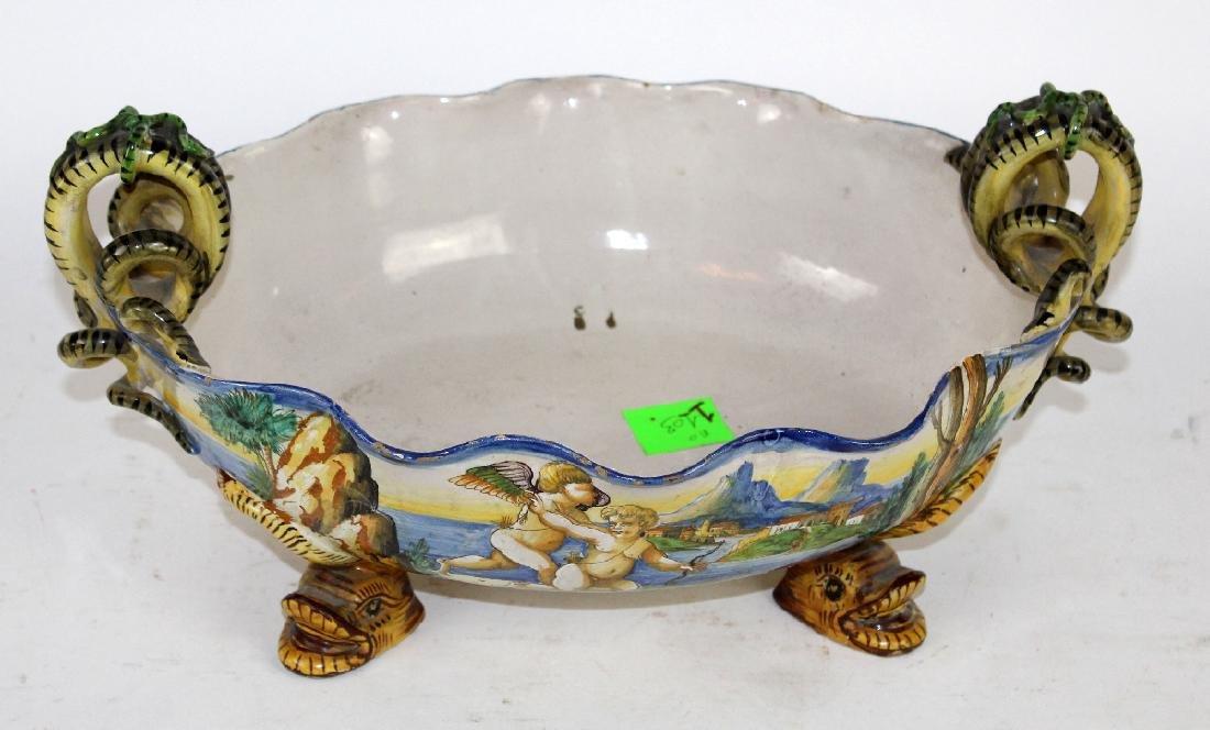 Italian glazed terra cotta bowl with serpent handles - 4
