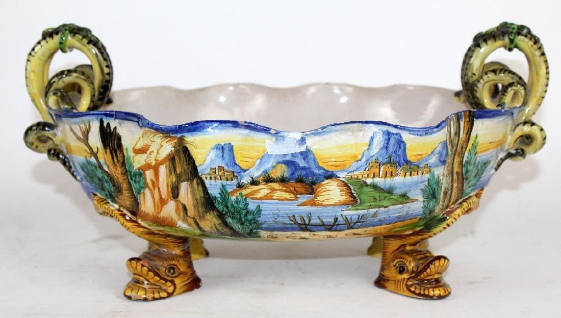 Italian glazed terra cotta bowl with serpent handles - 6
